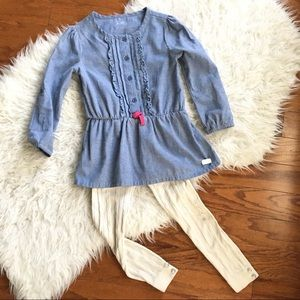 Nice Fall Outfit Chambray Top And Ivory Leggings 5